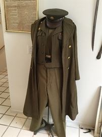 WW2 Military Issue full uniform w/wool trench coat