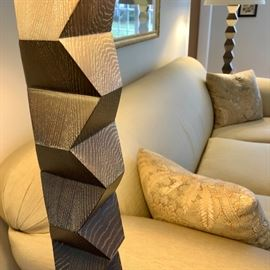 "Donghia Cerused Designer Floor Lamps ""Zig Zag."""