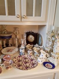 Assorted china and an early electric clock (works)
