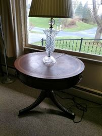 Leather top table and crystal lamp