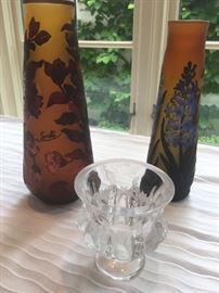 Galle style vases, Lalique bowl