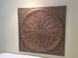 Large pressed tin wall art