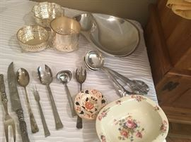 Silverplate items, vintage china