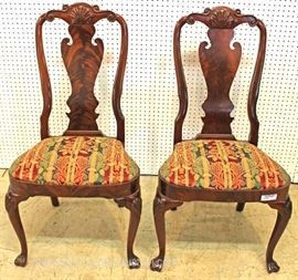 "— FANTASTIC —  SET of 10 SOLID Mahogany Burled with Spanish Queen Anne Feet and Elaborate Form Back Dining Room Chairs by ""Councill Furniture""  Located Inside – Auction Estimate $2000-$4000"