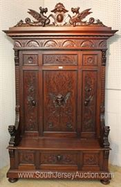 ANTIQUE SOLID Mahogany Highly Carved and Ornate with Lions and Griffins Hall Bench  Located Inside – Auction Estimate $1000-$2000