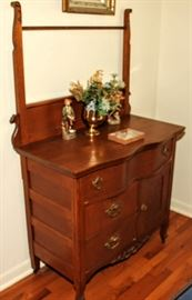 LATE VICTORIAN COMMODE WITH TOWEL RACK