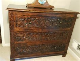 Nadeau hand carved 3 drawer chest