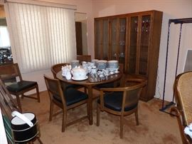 Vintage dining table 6 chairs and breakfront