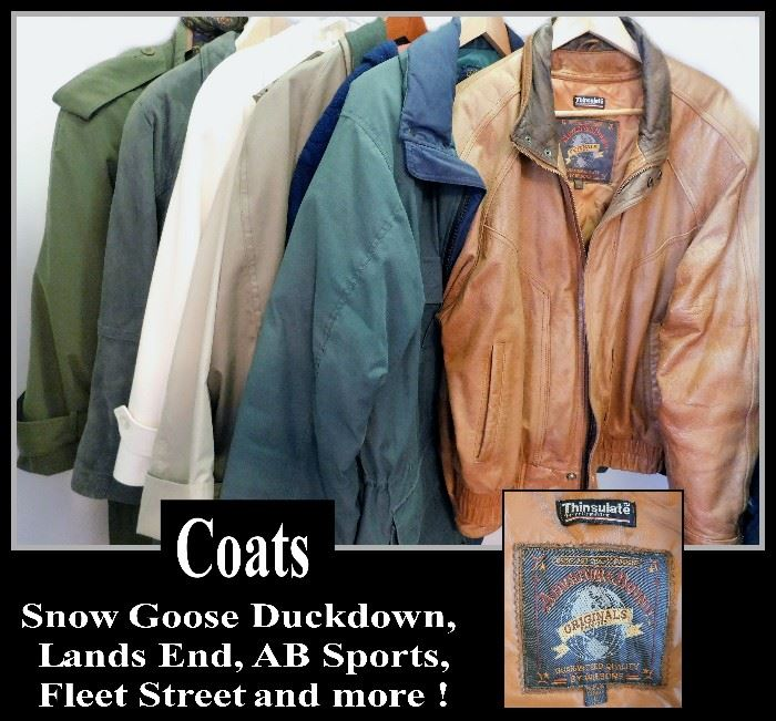 Clothing coats including a Leather jacket by Wilson's: Adventure Bound. Various sizes.