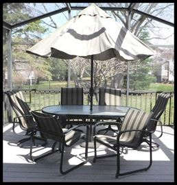 It's time for Family and Friends on the Deck with these patio table, six chairs and umbrella ! Quality made.  We also have a new set of sling seats for these.