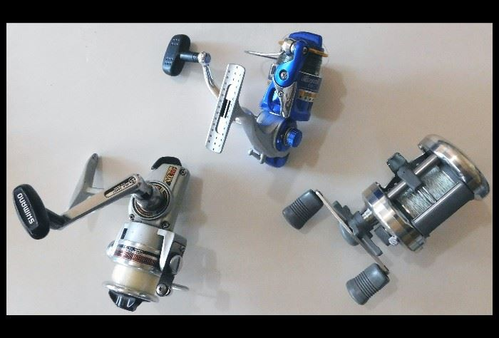 Fishing Reels. Pictured here are the Shimano ML20, Emerald 850 and the Shimono Corsair.