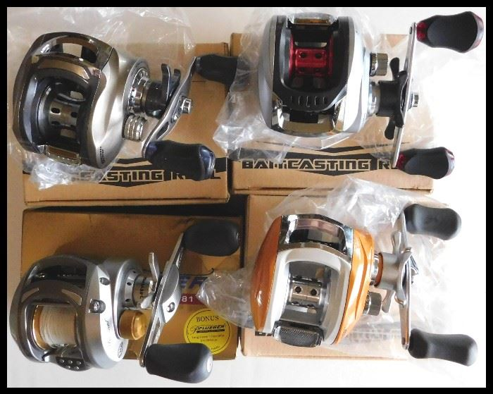 Four Fishing Reels by Baitcasting and Pflueger. New and still in the box.