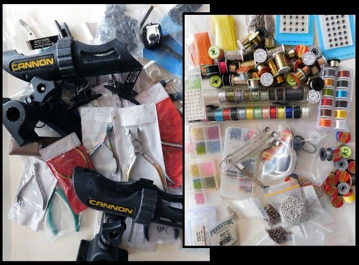 Fishing tools and supplies like thread, round eye dumbells, eyes, beads and much more. Also fishing pole holders, line cutting tools and more.