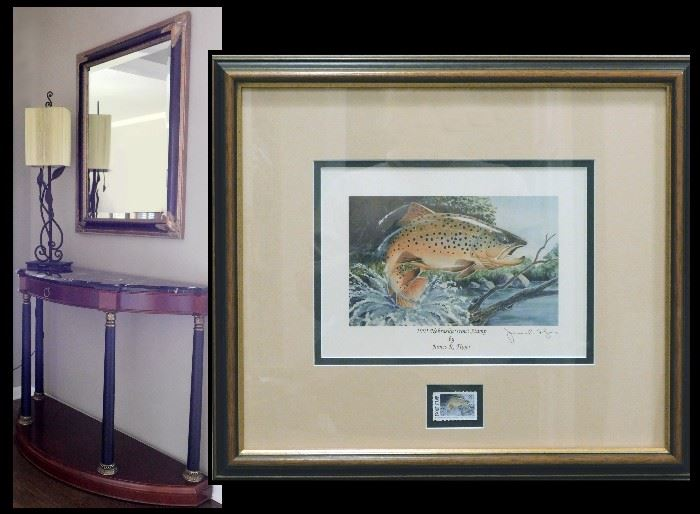 Hall Table with Mirror and Lamp. Plus sample of the collection of  Fishing Artwork. Pictured is a winning Trout Stamp print signed by James R Fliger.