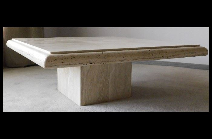 "Large Classic Solid Marble Coffee Table. Bring extra folks with you for a loading party when you win this.  42"" X  42""  X 16"" H."