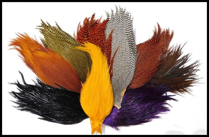 Just a sample of the many feathers in the sale. These are gorgeous Saddle Hackles.