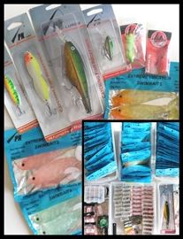 Many, many Lures and necessities including PK Lures, Black Rock Tackle, Brookside Flies, Swimbaits, Flutter Fish, Beadtail, Jigs and more.