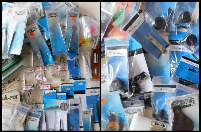 Lots o' Fishing tools and supplies including hackle pliers, floss bobbins, supreme whip finishers and so much more.