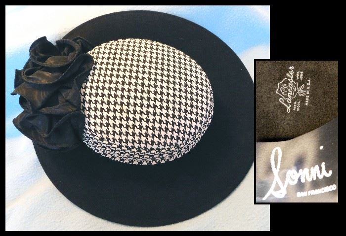 We call this the Princess Di Hat. It has the houndstooth design that we all love.  Sonni by Lancaster - 100% Wool. The Bad Dog has houndstooth, too.