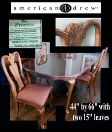 Dining Room Table with Four Chairs quality made by American Drew in North Carolina.
