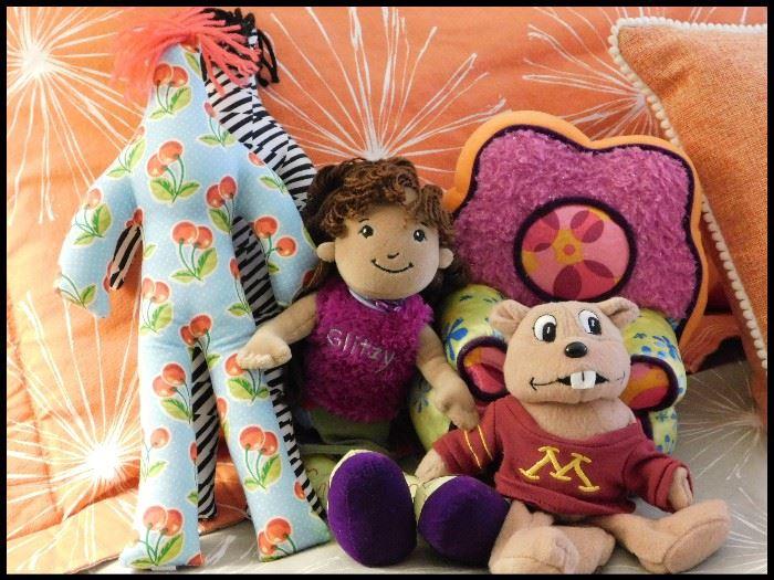 Dammit dolls, Glitzy doll with chair, U of M plush plus pillows.