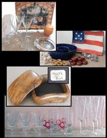 Glassware - some crystal, dining items, collectibles and a finely handcrafted Myrtle Burl Box.