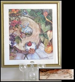 Large Framed Print by Lynn Hays (Born 1950 in Wyoming). Signed lithograph 35 inches by 38 inches.