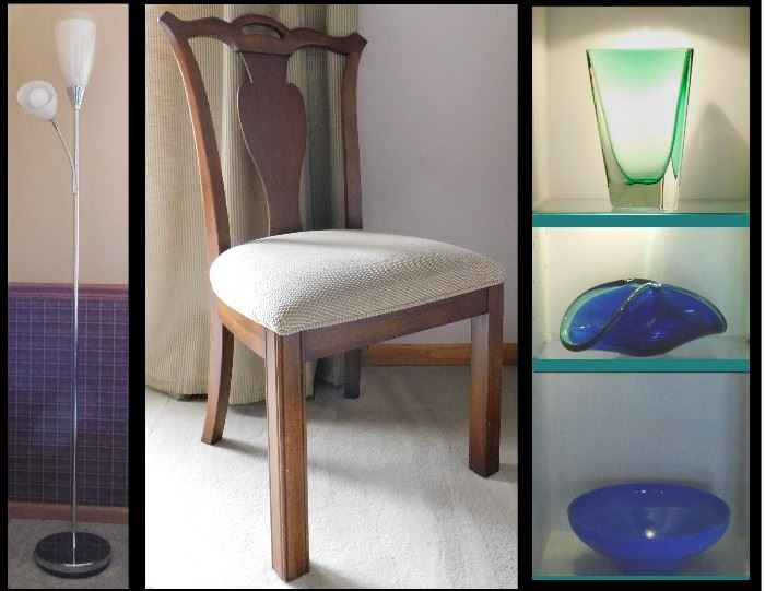 Pole lamp, vintage chair and sample of colored glass.