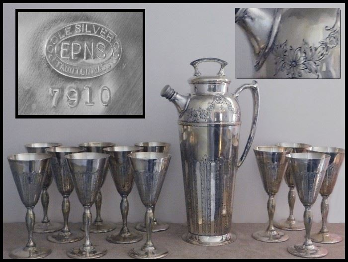 Poole Silver Company EPNS special occasion set with engraved decanter and 12 goblets. Cheers!
