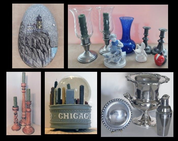 "Porcelain Candleholders, Champagne Cooler, Cocktail Shaker, Spit Rock Lighthouse Stone and a Music Box that plays ""Chicago, Chicago, that toddlin' town..."""