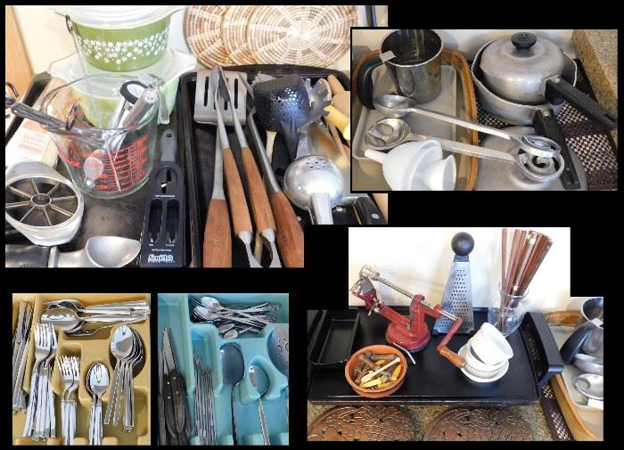 Sampling of Kitchen Gadgets, Flatware, Pots, Pans and a really groovy Apple Parer machine.