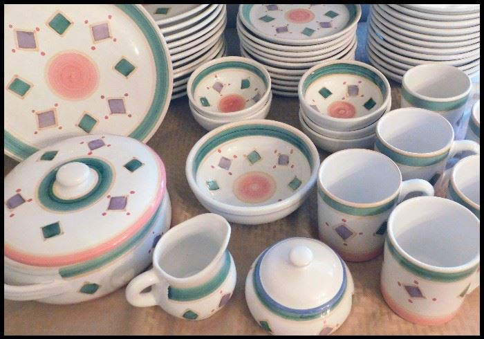 Caleca pottery Belvedere pattern, forty-eight pieces, covered casserole, cream/sugar, cups, bowls and more.