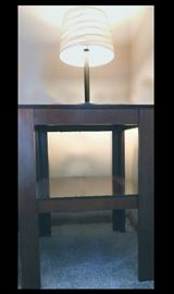 Side table 28 w x 21 d x 20 h and bedside lamp.