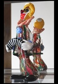 Tall Twelve Inch Murano Glass Clown Playing an Accordion. Handblown in Italy.