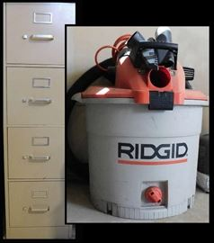 Four Drawer File and Ridgid Wet Dry Vacuum an odd pairing or a more modern circular file.