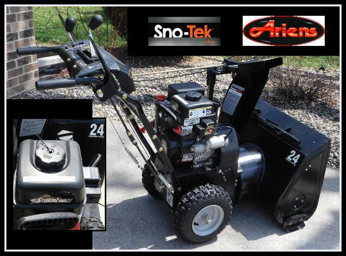 Sno Tek by Ariens 24 inch clearing width snow blower with Snow Pro nylon tubeless tires.  Like New!