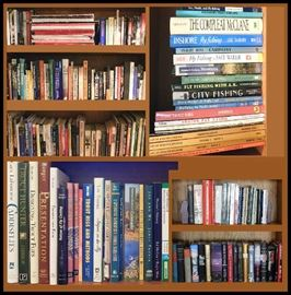 Some of the books. Includes more than 50 Fishing Books plus everything from Tolstoy to Stockett to Cooking to Politics.