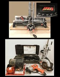 TOOLS including reciprocating saw, drill, Skilsaw, Hempe miter tool, rock tumbler and more.