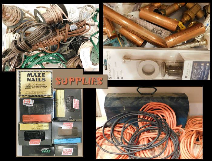 Tools and supplies including extension cords, copper, nails and Giller Tool Company tool box.