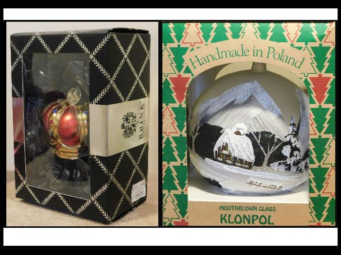 Brink Nordic  Danish Design  Handblown and Painted Crown Ornament and Klonpol 20 inch diameter Mouth Blown ornament from Poland.