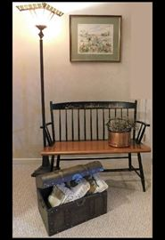 Country Style painted bench with charming fishing village design plus copper pot, Tiffany style floor lamp and chest.