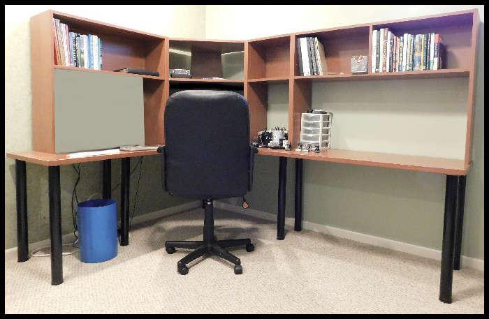 Corner desk with shelves.