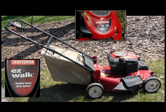 Craftsman 6.75hp ez walk lawn mower 22 inch cut with the bagger.