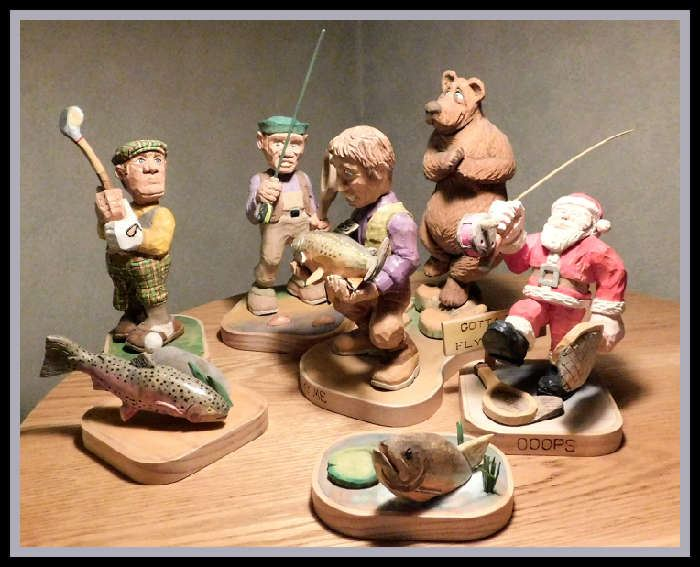 Whimsical Handcrafted Sculptures with Golf and Fishing Theme created by Paul's Father.  Paul's dad is a remarkable wood carver and artist.  These are some of the best chip carved pieces we have seen.