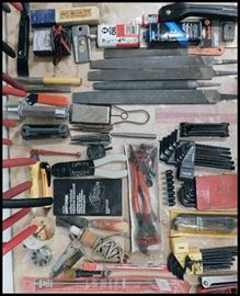 TOOLS including files, wrenches, punches, bits, wood burner, plier wrench and more.