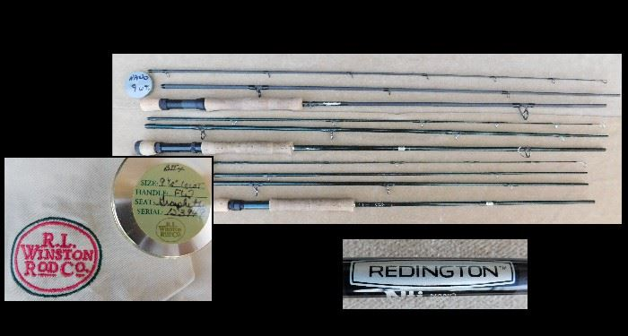 Fly fishing rods including R.L. Winston Rod Co.  and Redington.