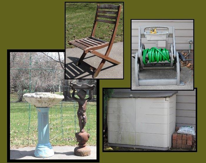 Birdbath Restoration project, folding chair, hose reel, storage bin and Cherub Standing on Grape Vessel Holding Shell Bird Bath