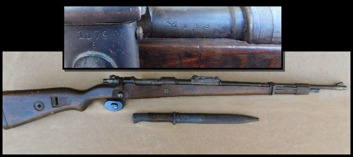WW 2  German made Mauser K98-K and Bayonet.  Recovered in Germany.