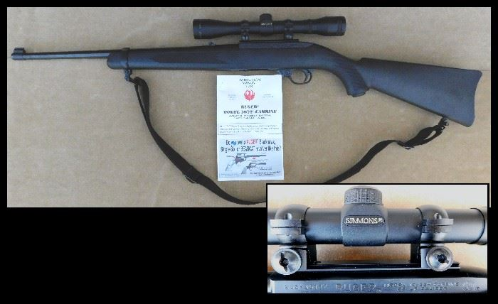 Rueger 22 semi-automatic with extra magazine, Simmons scope and  case.