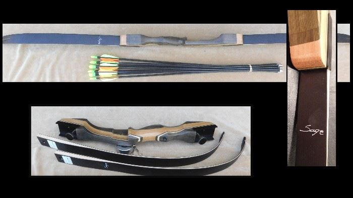 Semick recurve bow.  Sage model with arrows.  New, never strung.